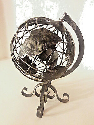 Old World Style Metal Decorative Table Top Spinning Globe.