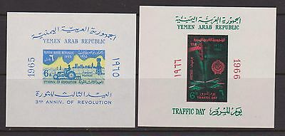 YEMEN 1965 Revolution MS & 1966 Traffic Day MS nhm
