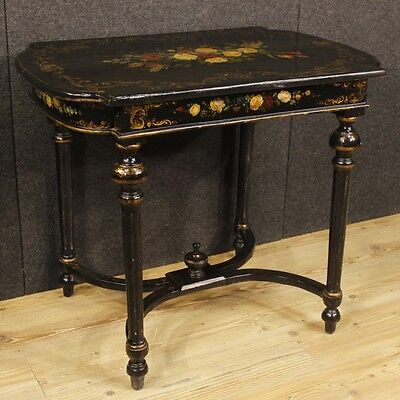 Side table lacquered living room furniture painted wood antique style vintage