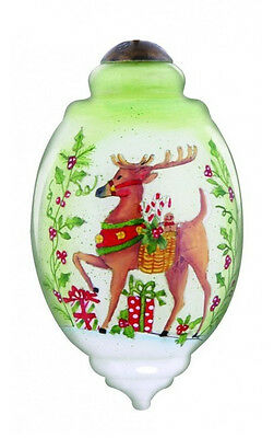 Reindeer Wishes of Joy For Christmas Ornament Ne'Qwa Art New Susan Winget Glass