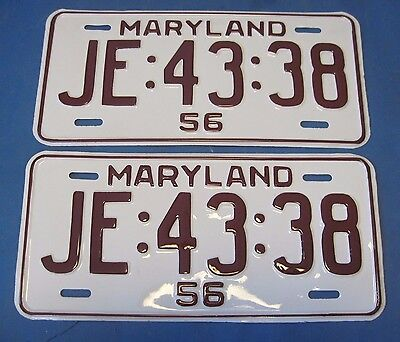 1956 Maryland license plates popular year professionally restored