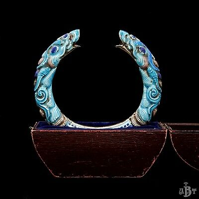 Antique Vintage Deco Sterling Silver Chinese Enamel Dragon Bangle Cuff Bracelet