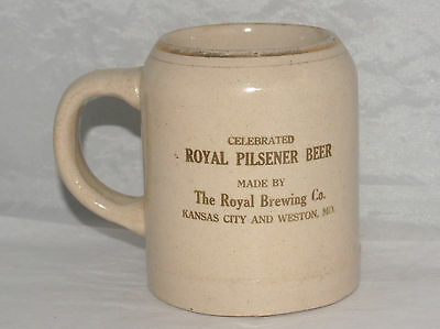Antique Royal Brewing Company Kansas City Beer Stoneware Pottery Advertising Mug
