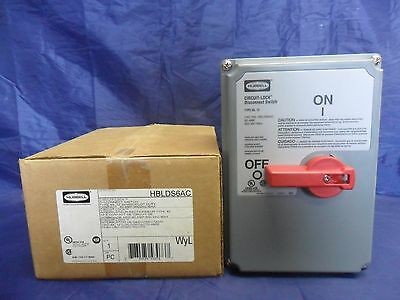 New Hubbell HBLDS6AC Disconnect Switch 60 Amp 600 VAC Non-Fusedrf NIB