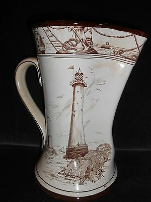 1907 Buffalo Pottery Jug/pitcher Sailor Lighthouse Ships Beach  #1414 Marine Jug