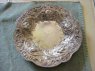 2- 8 Inch   Dishes Black Starr & Frost Mono M 8.82 Oz Sterling Each Troy #1