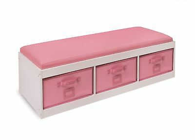 Badger Basket Kid's Storage Bench with Cushion and Three Bins, Pink
