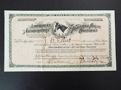 American Association of Trotting Horse Breeders Stock Certificate 1907