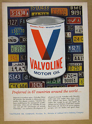 1964 Valvoline Oil can & us canada foreign license plates art vintage print Ad