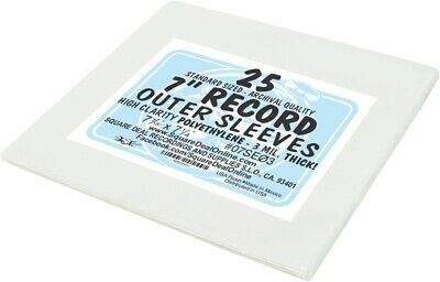 """(25) 7"""" Record Sleeves - 3mil ARCHIVAL Vinyl 45rpm HEAVY DUTY Outer Bags Covers"""