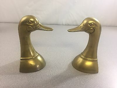 Vintage Solid Brass Pair Of Mallard Duck Bookends - Made In Korea -