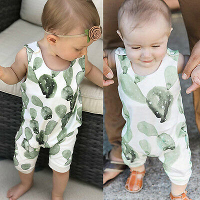 Cotton Baby Boys Girls Toddler Cactus Sleeveless Romper Bodysuit Jumpsuit Outfit