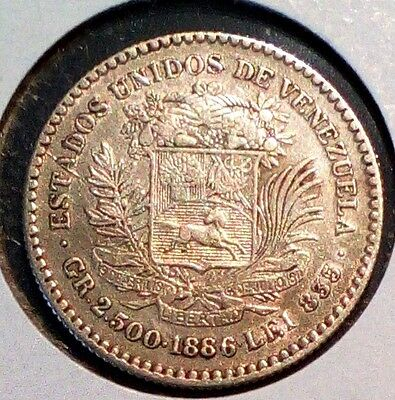 "Venezuela Silver coin gram 2.500 1/2 Bolivar 1886 ""high second 8""...high grade.."
