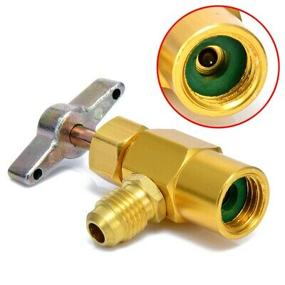"1/4SAE R-134a AC Refrigerant Gold Brass Can Tap Dispensing 1/2""Acme Thread Valve"