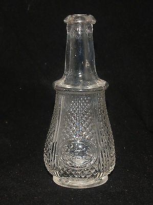 Antique Blown Molded Pressed Glass Advertising Bottle H.e.s. Diamond Pattern