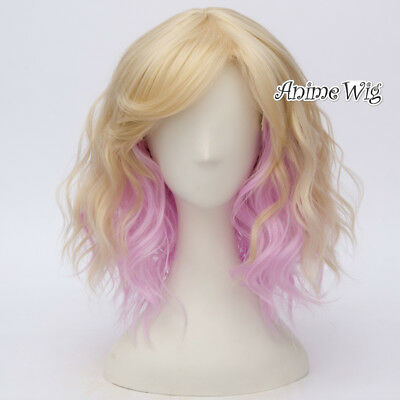 35cm Blonde Mixed Pink Curly Party Women Party Anime Heat Resistant Cosplay Wigs