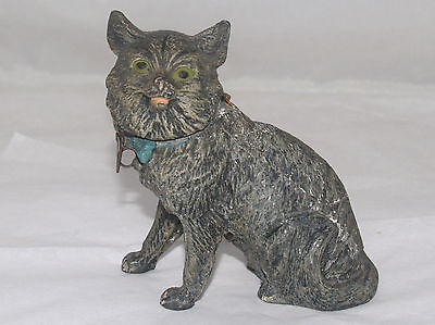 Antique Victorian German Pot Metal Figural Cat Still Penny Bank