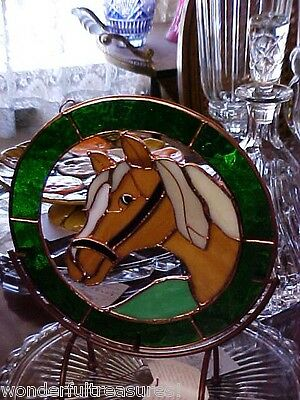 GENUINE HANDCUT 3D Stained Glass PALOMINO HORSE Hangs/Stands Copper WON'T FADE!