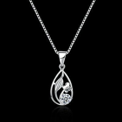 Fashion Chain 925 Sterling Silver Zircon oval Pendant Necklace Women' Jewery NEW