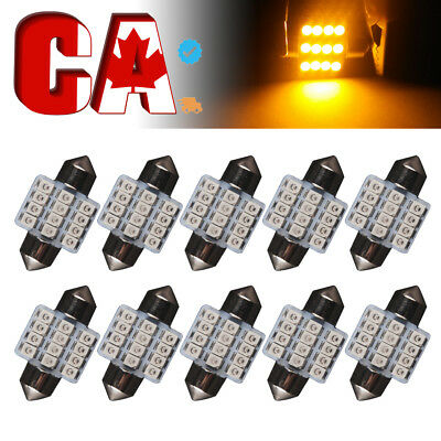 10x Super Yellow 31mm Festoon 12 SMD LED Interior Cargo Dome Map Door Light Bulb