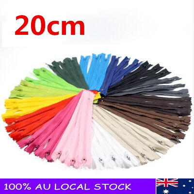 20/40pcs Assorted Color Close End Nylon Zipper DIY Craft Dressmaking Zip 20CM