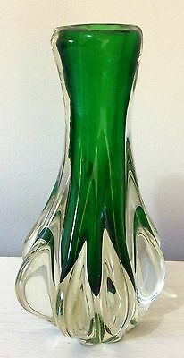 MURANO Glass Vase 1970s Italy Green & Clear Glass