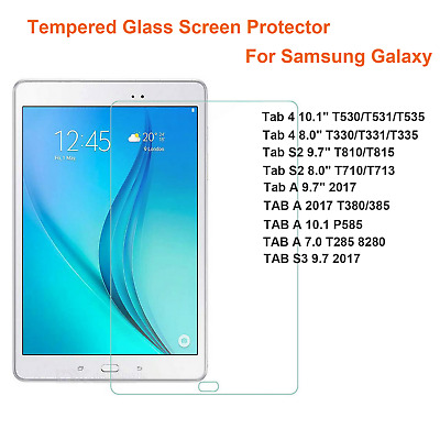 """Tempered Glass Screen Protector For Samsung Galaxy Tab A S2 9.7"""" 4 10.1"""" 8.0"""