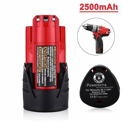 New 12V 2.5Ah Li-ion Replacement Battery for Milwaukee M12 48-11-2420 48-11-2401