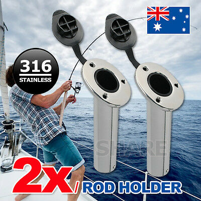 2x 316 Marine Grade Stainless Steel Flush Mount 30 Degree Fishing Rod Holders