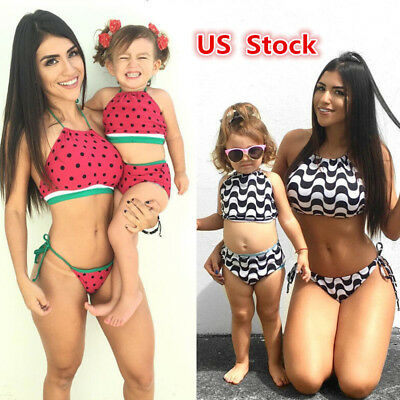 USA Family Matching Women Kid Baby Girls Bikini Bathing Suit Swimwear Swimsuit