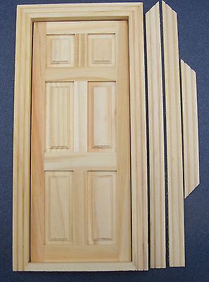1:12 Scale Pack Of 4 Tumdee Dolls House 6 Panel Natural Finish Wooden Doors