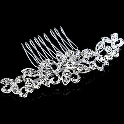Wedding Bridal Hair Comb Clip Crystal Rhinestone Diamante Silver Flower Pearls