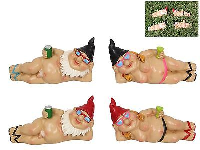 4x Garden Gnome CHILLING Out Lady + NUDE Man Naughty Naked Mini Ornaments 13cm