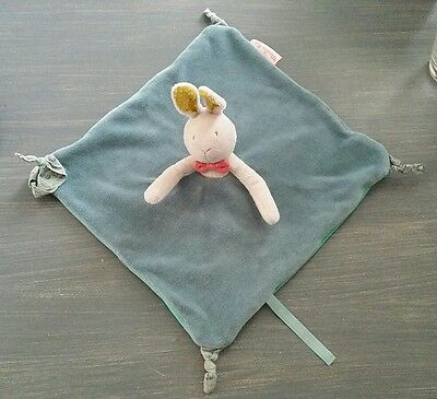 Doudou Moulin roty lapin plat carre bleu noeud mademoiselle et ribambelle