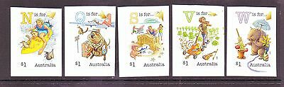 AUSTRALIA 2016 Fair Dinkum AUSSIE ALPHABET set of 5 x $1 P&S Stamps MNH