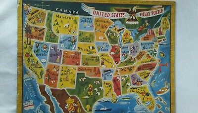 vintage united states cardboard inlay puzzle before Alaska or Hawaii