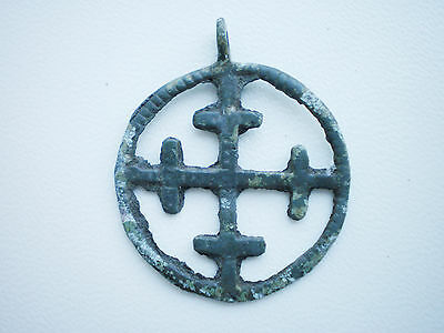 ANCIENT RARE Viking Traditional PENDANT CROSS In Circle 10-12 century Wearable