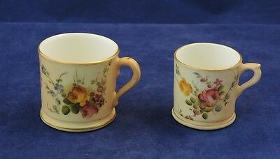2 x ROYAL WORCESTER HAND PAINTED BLUSH IVORY FLOWERS MINIATURE CUP/MUG 1906/7 #3