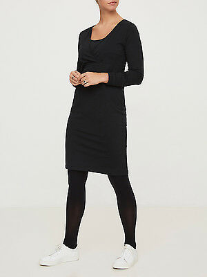 BNWT Mamalicious Maternity Nursing Breastfeeding Dress Organic Cotton Black LS