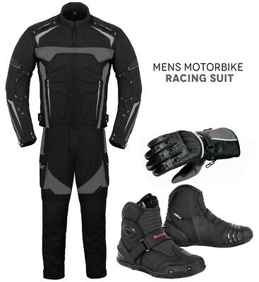 All Weather Motorbike Motorcycle Full Suit Set Jacket + Trouser + Gloves + Boots