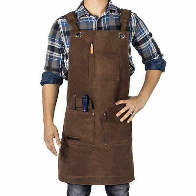 Waxed Canvas Shop Apron Work Attire Tool Pockets Adjustable Size Men/Women BROWN