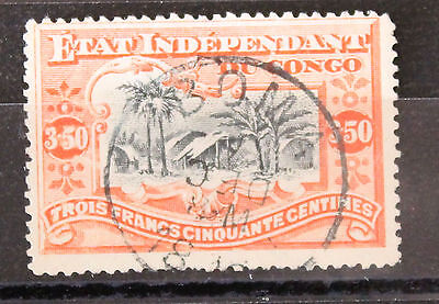 Congo 1894 Used 3.5F SG28 Red and Black Village Scene Cancel Bowa 18??