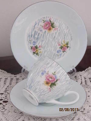 ''adderley''  - Powder Blue Floral Cup / Saucer / Plate Trio