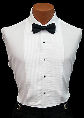 New Boys Size White Pleated Front Tuxedo Shirt Wing or Laydown Collar Ringbearer