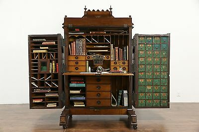 Wooton Signed Victorian 1874 Patent Antique Walnut & Burl Desk, Call Buttons