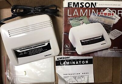 """Emson Electric Laminator No. 2291 4"""" X 6"""" 30 Sleeves Included IOB Instructions"""