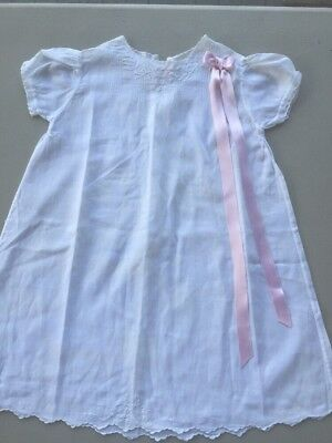 Antique Victorian Baby Day Gown Dress Embroidery Pintucks Vintage New Mint
