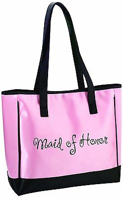 "MAID OF HONOR Pink Tote, 13"" x 14"", Satin Trimmed, by Lillian Rose"