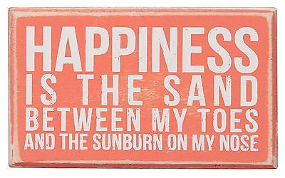 "HAPPINESS IS SAND BETWEEN MY TOES Wooden Box Sign, 5"" x 3"", Primitives by Kathy"