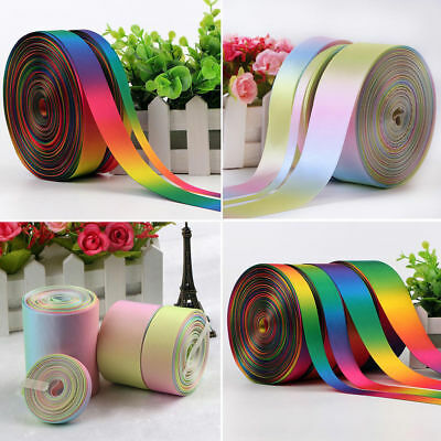 Rainbow Double Sided Pastel Satin & Grosgrain Ribbon 9 13 25 38mm 38mm 50mm 75mm